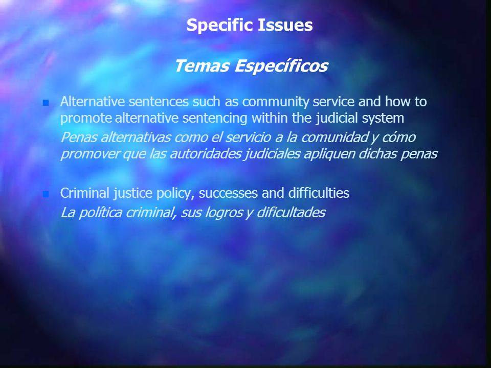 Specific Issues Temas Específicos n n Alternative sentences such as community service and how to promote alternative sentencing within the judicial sy