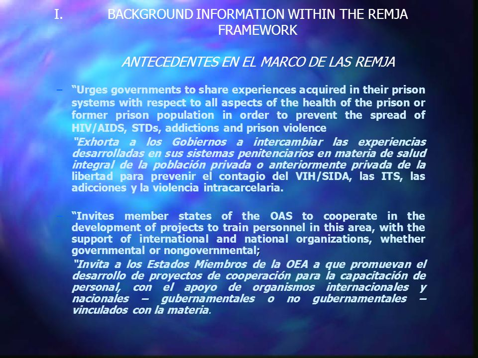 MEETING OF OFFICIALS RESPONSIBLE FOR PENITENTIARY AND PRISON POLICIES IN OAS MEMBER STATES REUNIÓN DE AUTORIDADES RESPONSABLES DE LAS POLITICAS PENITENCIARIAS Y CARCELARIAS DE LOS ESTADOS MIEMBROS DE LA OEA Report presented by the Technical Secretariat for Legal Cooperation Mechanisms Secretariat for Legal Affairs General Secretariat OAS Informe de la Secretaría Técnica de Mecanismos de Cooperación Jurídica Subsecretaría de Asuntos Jurídicos Secretaría General OEA