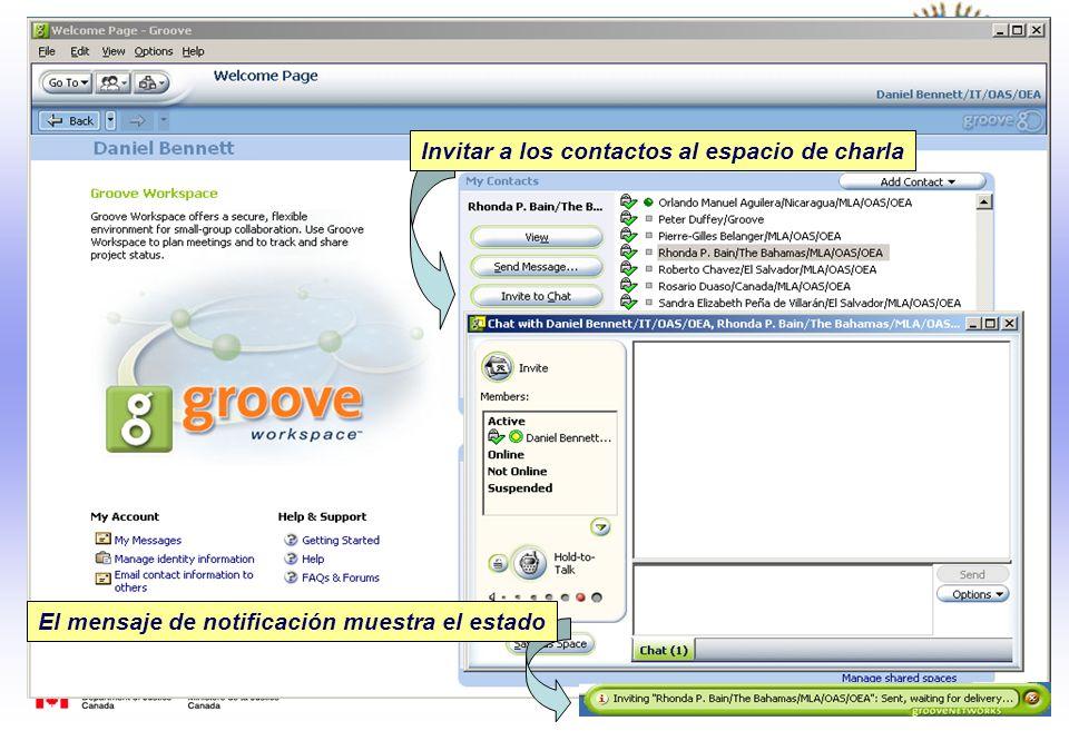 Invitar a los contactos al espacio de charla El mensaje de notificación muestra el estado