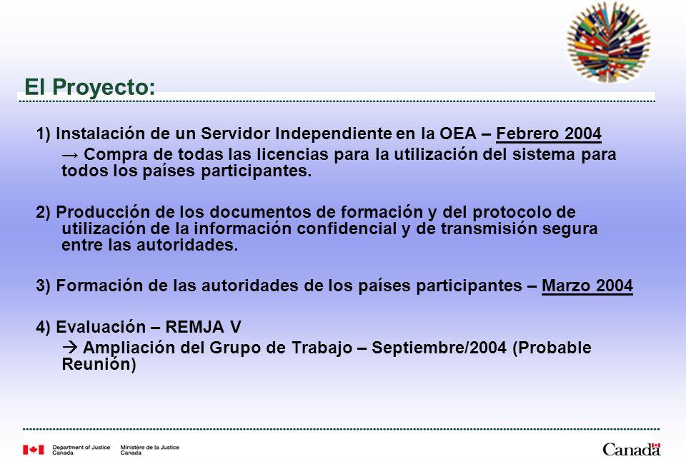 El Proyecto: 1) Instalación de un Servidor Independiente en la OEA – Febrero 2004 Compra de todas las licencias para la utilización del sistema para todos los países participantes.