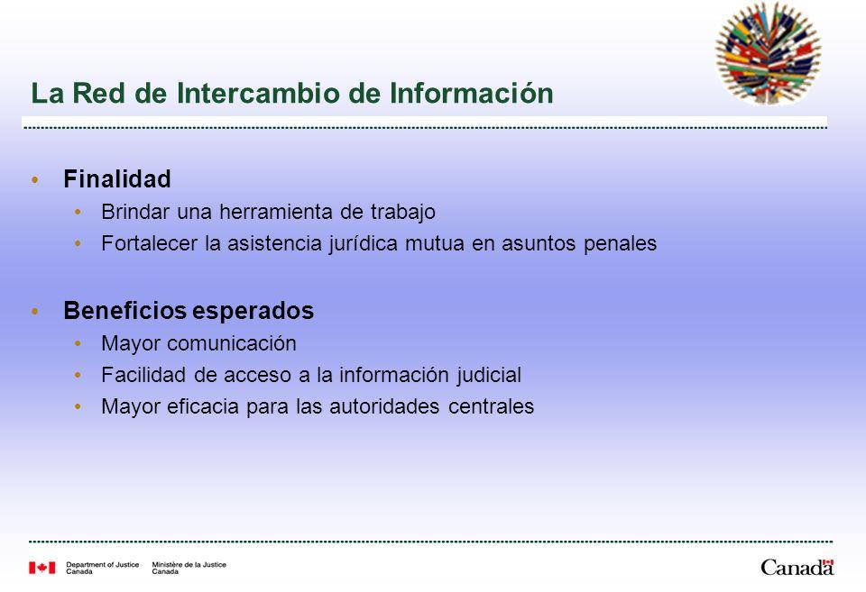 La Red de Intercambio de Información Finalidad Brindar una herramienta de trabajo Fortalecer la asistencia jurídica mutua en asuntos penales Beneficios esperados Mayor comunicación Facilidad de acceso a la información judicial Mayor eficacia para las autoridades centrales