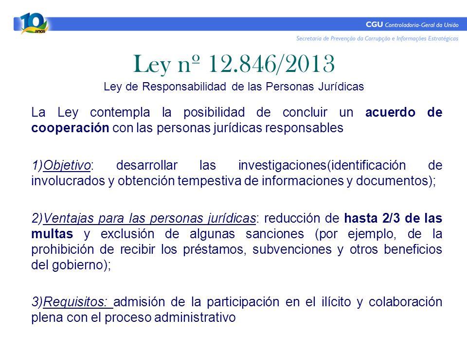 La Ley contempla la posibilidad de concluir un acuerdo de cooperación con las personas jurídicas responsables 1)Objetivo: desarrollar las investigacio