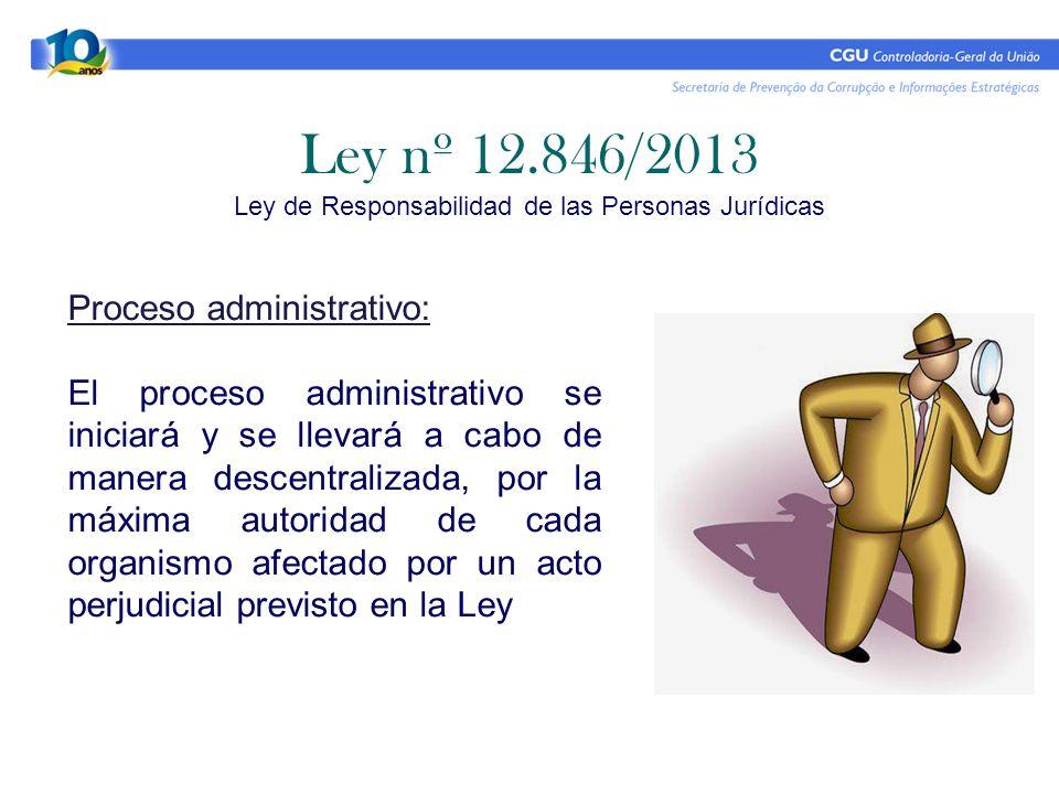 Ley nº 12.846/2013 Ley de Responsabilidad de las Personas Jurídicas Proceso administrativo: El proceso administrativo se iniciará y se llevará a cabo