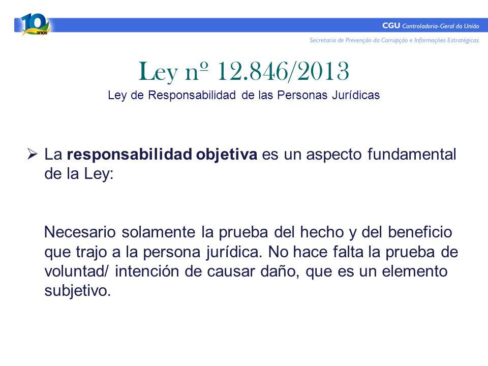 Ley nº 12.846/2013 Ley de Responsabilidad de las Personas Jurídicas La responsabilidad objetiva es un aspecto fundamental de la Ley: Necesario solamen
