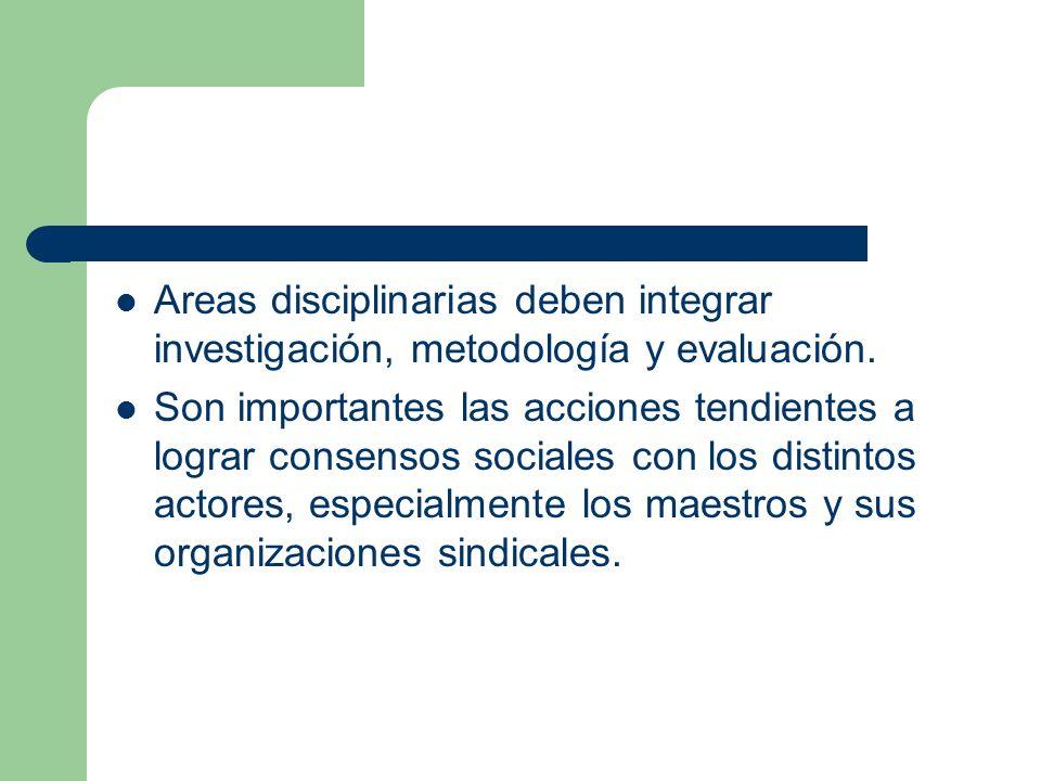 Areas disciplinarias deben integrar investigación, metodología y evaluación. Son importantes las acciones tendientes a lograr consensos sociales con l