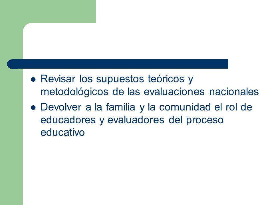 Revisar los supuestos teóricos y metodológicos de las evaluaciones nacionales Devolver a la familia y la comunidad el rol de educadores y evaluadores