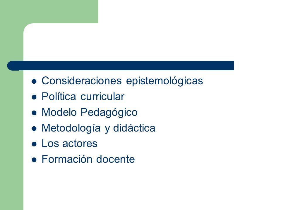 Consideraciones epistemológicas Política curricular Modelo Pedagógico Metodología y didáctica Los actores Formación docente