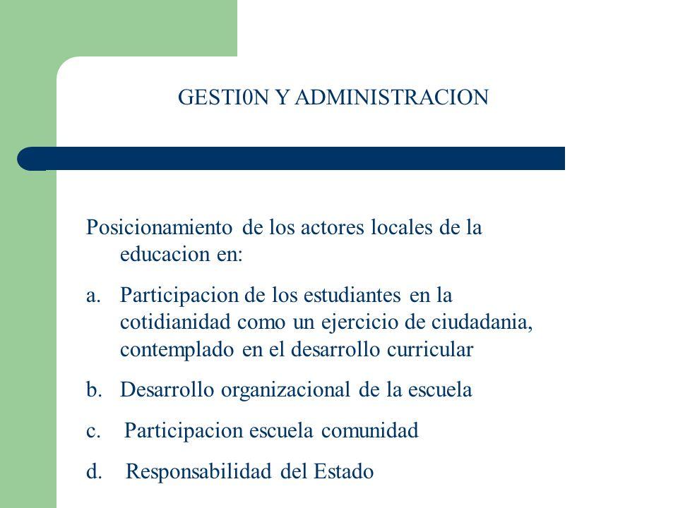 Posicionamiento de los actores locales de la educacion en: a.Participacion de los estudiantes en la cotidianidad como un ejercicio de ciudadania, cont
