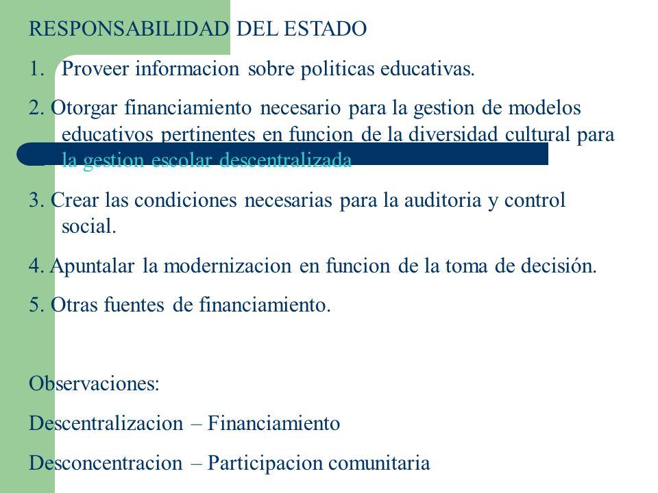 RESPONSABILIDAD DEL ESTADO 1.Proveer informacion sobre politicas educativas. 2. Otorgar financiamiento necesario para la gestion de modelos educativos