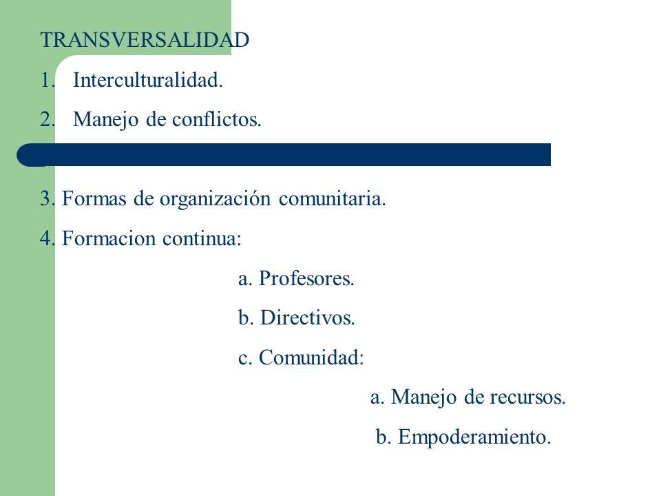 TRANSVERSALIDAD 1.Interculturalidad. 2.Manejo de conflictos. 3. Formas de organización comunitaria. 4. Formacion continua: a. Profesores. b. Directivo