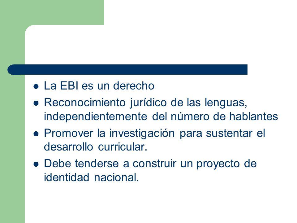 La EBI es un derecho Reconocimiento jurídico de las lenguas, independientemente del número de hablantes Promover la investigación para sustentar el de