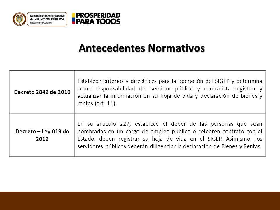 Decreto 2842 de 2010 Establece criterios y directrices para la operación del SIGEP y determina como responsabilidad del servidor público y contratista