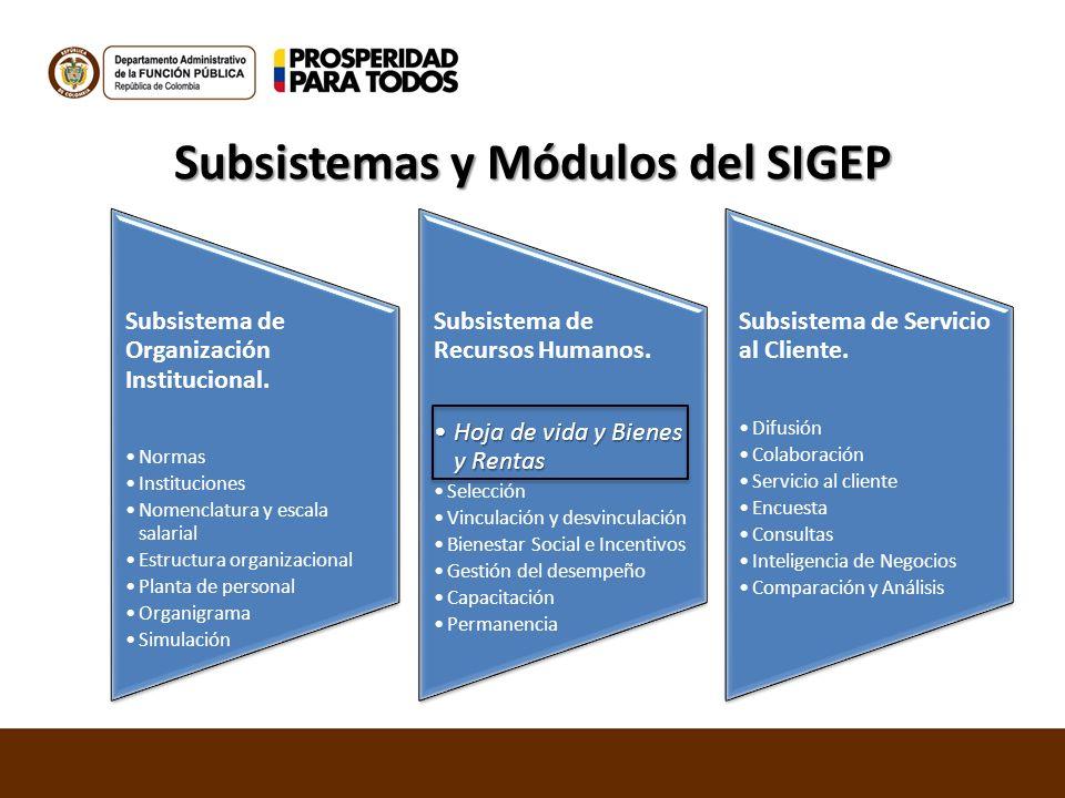 Subsistemas y Módulos del SIGEP Subsistema de Organización Institucional. Normas Instituciones Nomenclatura y escala salarial Estructura organizaciona