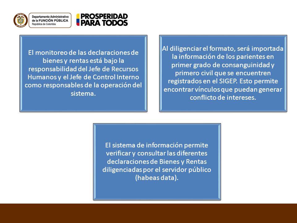 El monitoreo de las declaraciones de bienes y rentas está bajo la responsabilidad del Jefe de Recursos Humanos y el Jefe de Control Interno como respo