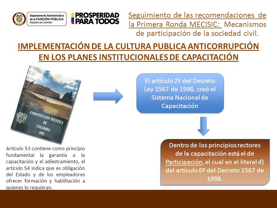 IMPLEMENTACIÓN DE LA CULTURA PUBLICA ANTICORRUPCIÓN EN LOS PLANES INSTITUCIONALES DE CAPACITACIÓN Artículo 53 contiene como principio fundamental la g