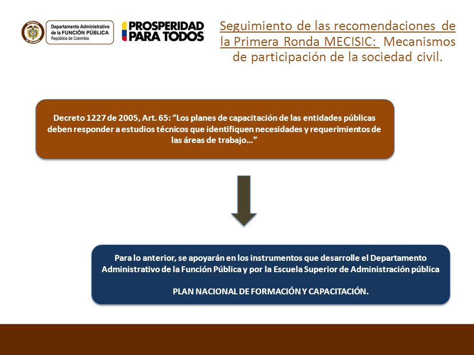 Seguimiento de las recomendaciones de la Primera Ronda MECISIC: Mecanismos de participación de la sociedad civil. Decreto 1227 de 2005, Art. 65: Los p