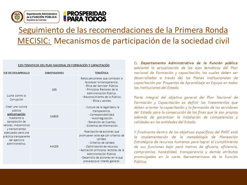 Seguimiento de las recomendaciones de la Primera Ronda MECISIC: Mecanismos de participación de la sociedad civil EJES TEMATICOS DEL PLAN NACIONAL DE F