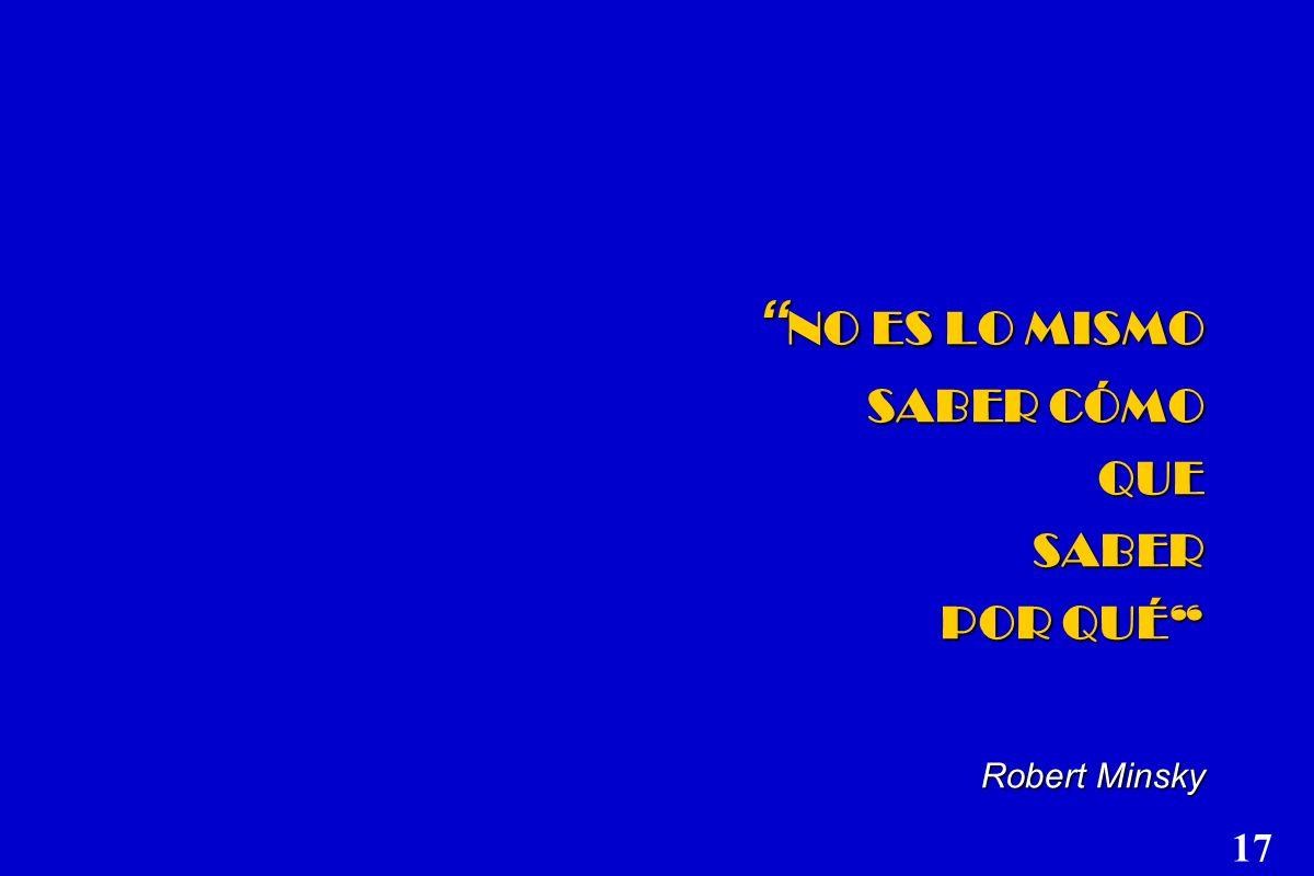 NO ES LO MISMO SABER CÓMO QUE SABER POR QUÉ Robert Minsky NO ES LO MISMO SABER CÓMO QUE SABER POR QUÉ Robert Minsky 17