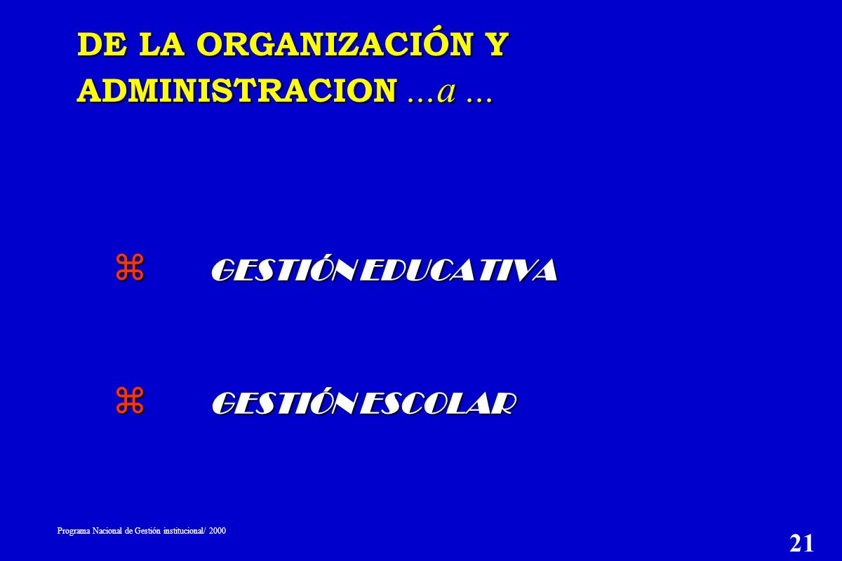 z GESTIÓN EDUCATIVA z GESTIÓN ESCOLAR DE LA ORGANIZACIÓN Y ADMINISTRACION...a...