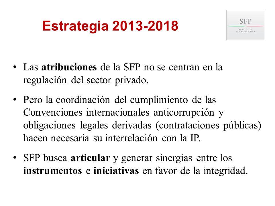 Las atribuciones de la SFP no se centran en la regulación del sector privado. Pero la coordinación del cumplimiento de las Convenciones internacionale