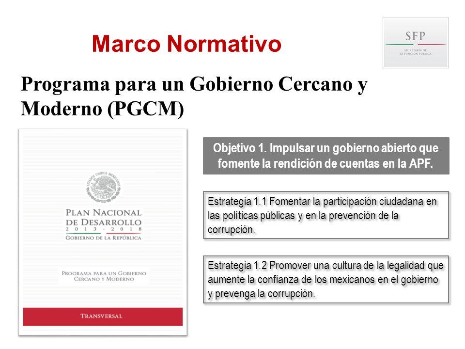 Objetivo 1. Impulsar un gobierno abierto que fomente la rendición de cuentas en la APF. Estrategia 1.1 Fomentar la participación ciudadana en las polí