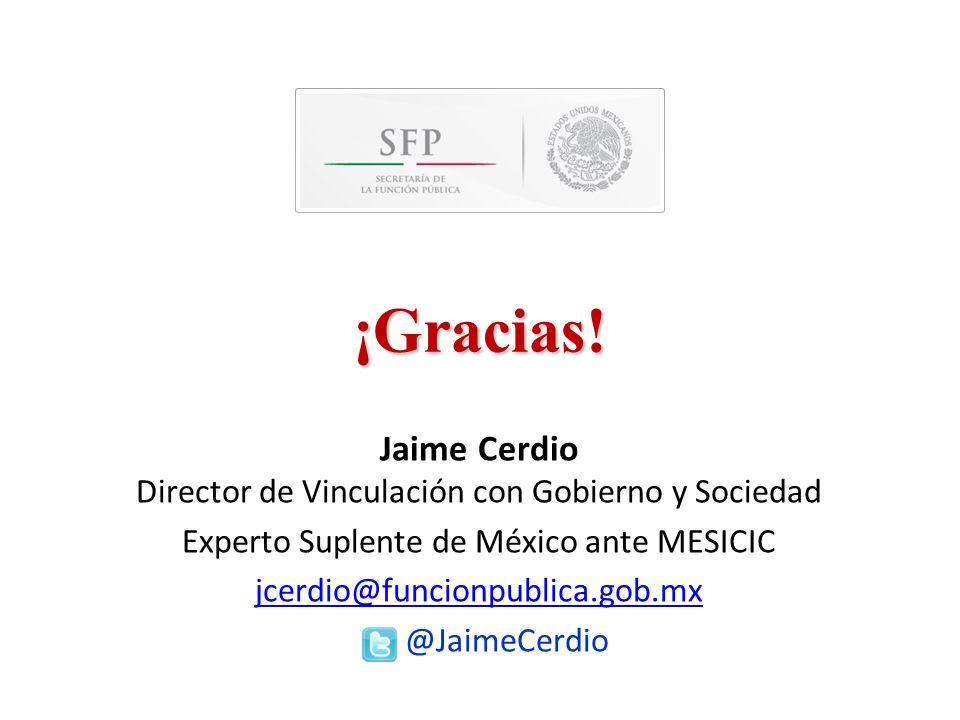 ¡Gracias! Jaime Cerdio Director de Vinculación con Gobierno y Sociedad Experto Suplente de México ante MESICIC jcerdio@funcionpublica.gob.mx @JaimeCer