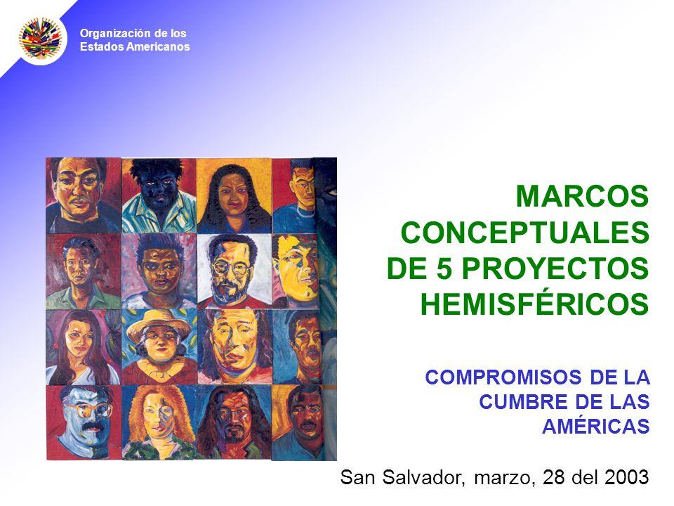 Organización de los Estados Americanos MARCOS CONCEPTUALES DE 5 PROYECTOS HEMISFÉRICOS San Salvador, marzo, 28 del 2003 COMPROMISOS DE LA CUMBRE DE LAS AMÉRICAS