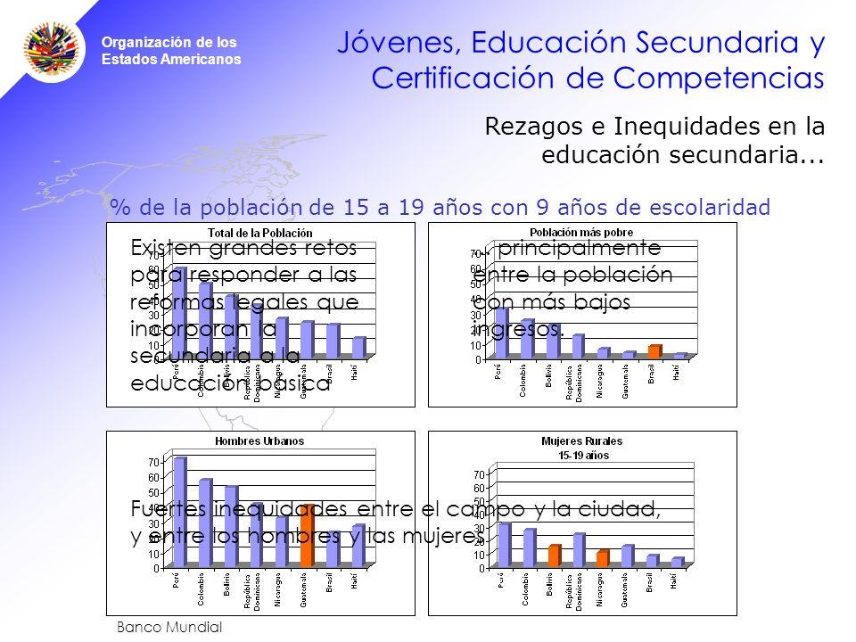 Organización de los Estados Americanos Jóvenes, Educación Secundaria y Certificación de Competencias Rezagos e Inequidades en la educación secundaria...