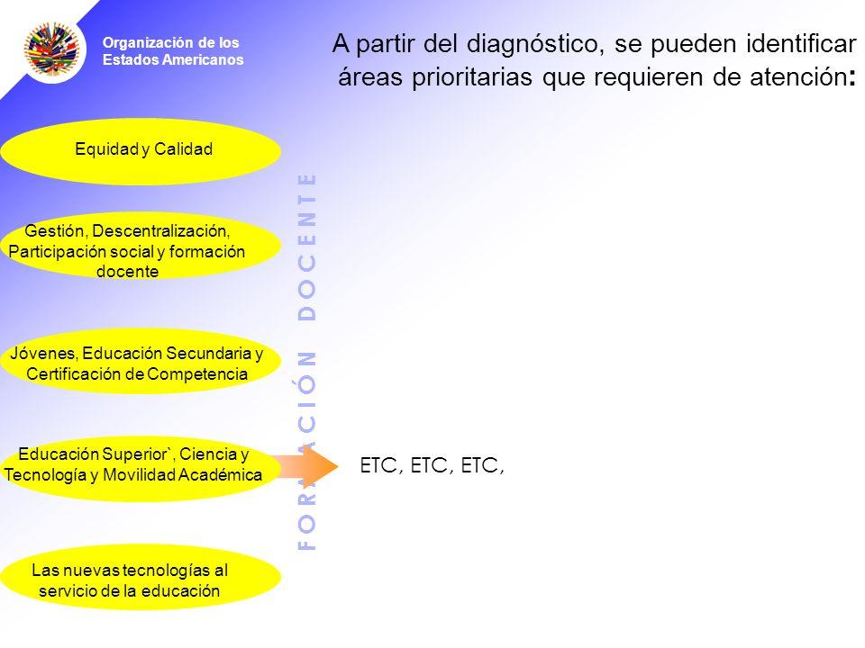 Organización de los Estados Americanos F O R M A C I Ó N D O C E N T E A partir del diagnóstico, se pueden identificar áreas prioritarias que requieren de atención : Jóvenes, Educación Secundaria y Certificación de Competencia Educación Superior`, Ciencia y Tecnología y Movilidad Académica Las nuevas tecnologías al servicio de la educación Equidad y Calidad ETC, ETC, ETC, Gestión, Descentralización, Participación social y formación docente