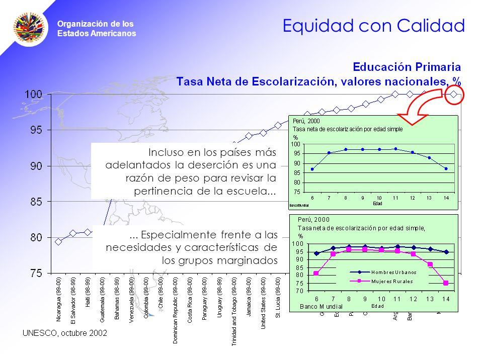 Organización de los Estados Americanos Equidad con Calidad La Universalización de la educación primaria: reto de equidad y calidad Incluso en los países más adelantados la deserción es una razón de peso para revisar la pertinencia de la escuela......