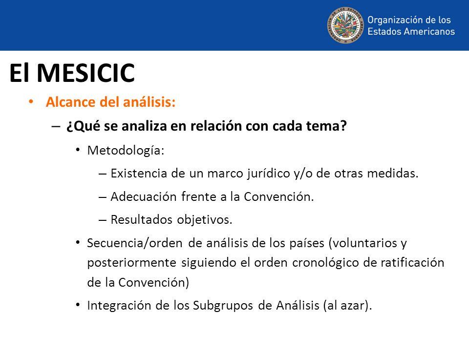 Alcance del análisis: – ¿Qué se analiza en relación con cada tema? Metodología: – Existencia de un marco jurídico y/o de otras medidas. – Adecuación f