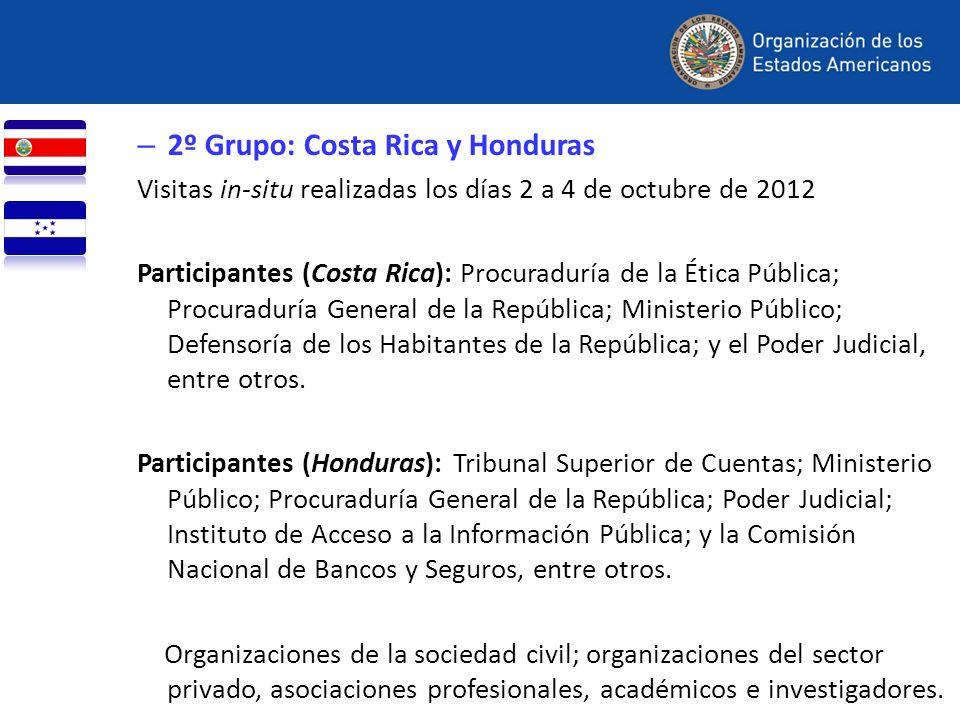 – 2º Grupo: Costa Rica y Honduras Visitas in-situ realizadas los días 2 a 4 de octubre de 2012 Participantes (Costa Rica): Procuraduría de la Ética Pú