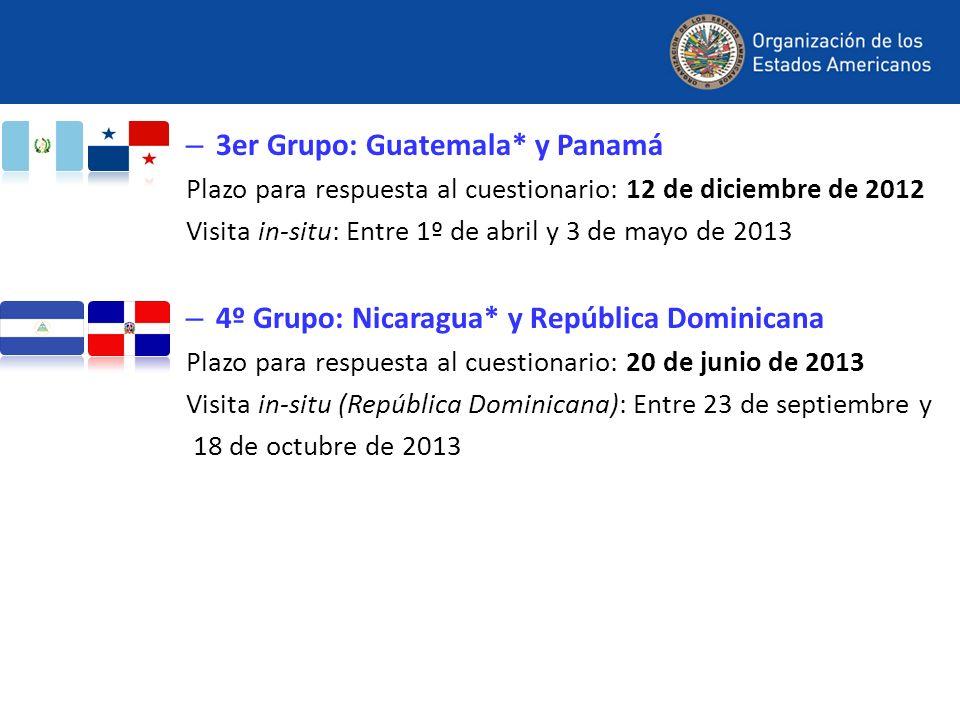 – 3er Grupo: Guatemala* y Panamá Plazo para respuesta al cuestionario: 12 de diciembre de 2012 Visita in-situ: Entre 1º de abril y 3 de mayo de 2013 –