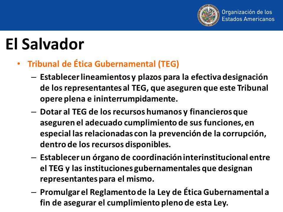 El Salvador Tribunal de Ética Gubernamental (TEG) – Establecer lineamientos y plazos para la efectiva designación de los representantes al TEG, que as