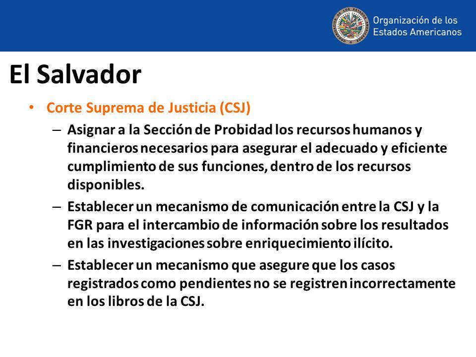 El Salvador Corte Suprema de Justicia (CSJ) – Asignar a la Sección de Probidad los recursos humanos y financieros necesarios para asegurar el adecuado
