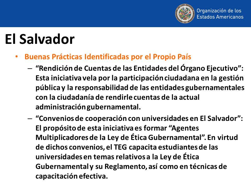 El Salvador Buenas Prácticas Identificadas por el Propio País – Rendición de Cuentas de las Entidades del Órgano Ejecutivo: Esta iniciativa vela por l