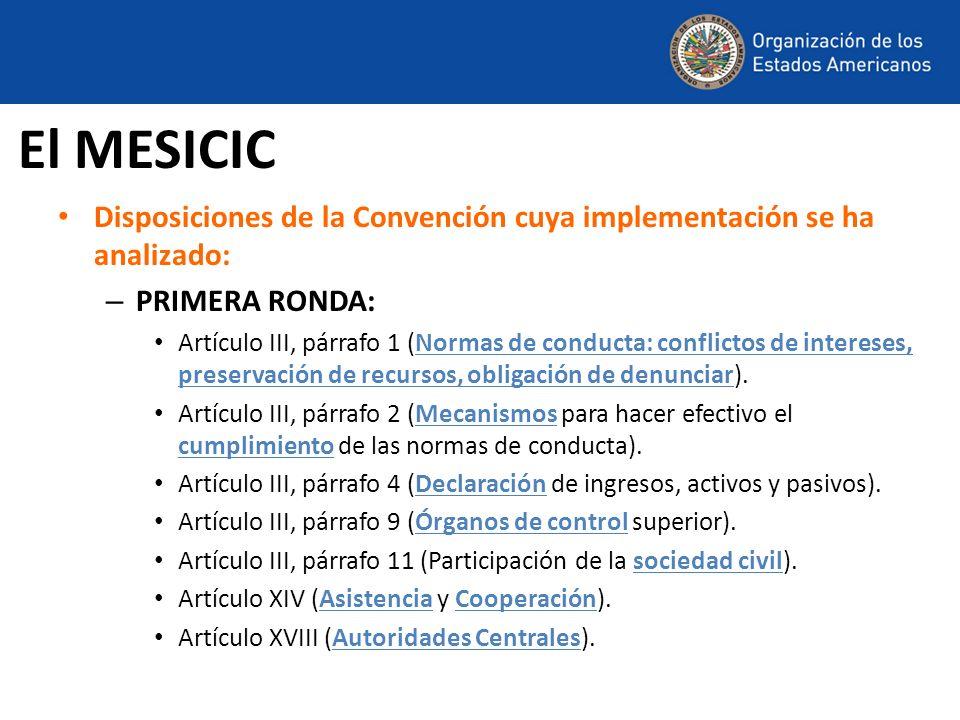 Disposiciones de la Convención cuya implementación se ha analizado: – PRIMERA RONDA: Artículo III, párrafo 1 (Normas de conducta: conflictos de intere