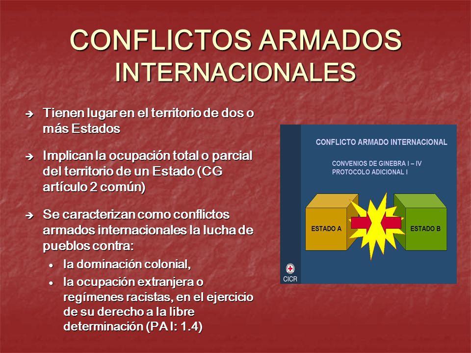 CONFLICTOS ARMADOS INTERNACIONALES Tienen lugar en el territorio de dos o más Estados Tienen lugar en el territorio de dos o más Estados Implican la o