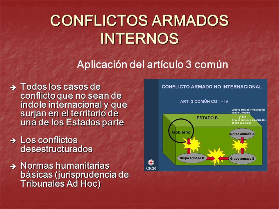 CONFLICTOS ARMADOS INTERNOS Todos los casos de conflicto que no sean de índole internacional y que surjan en el territorio de una de los Estados parte