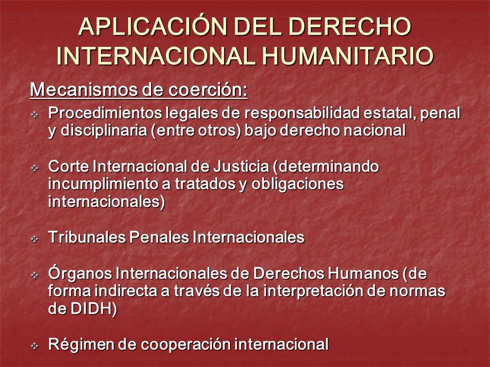 APLICACIÓN DEL DERECHO INTERNACIONAL HUMANITARIO Mecanismos de coerción: Procedimientos legales de responsabilidad estatal, penal y disciplinaria (ent