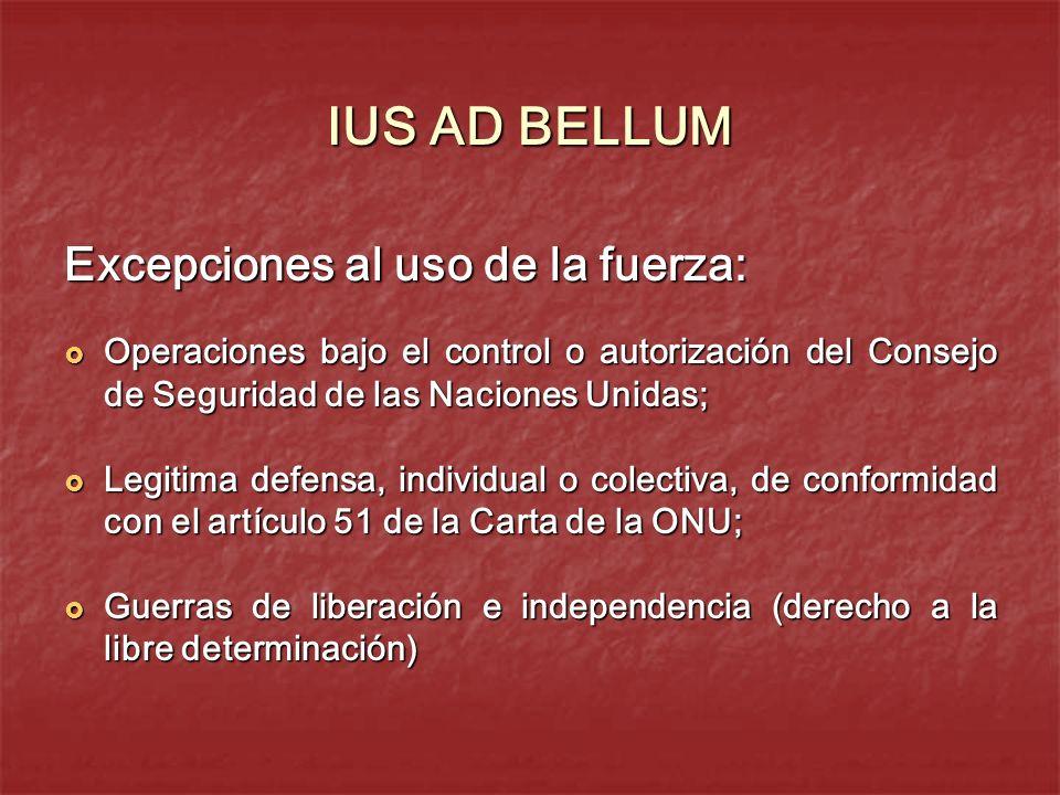 IUS AD BELLUM Excepciones al uso de la fuerza: Operaciones bajo el control o autorización del Consejo de Seguridad de las Naciones Unidas; Operaciones
