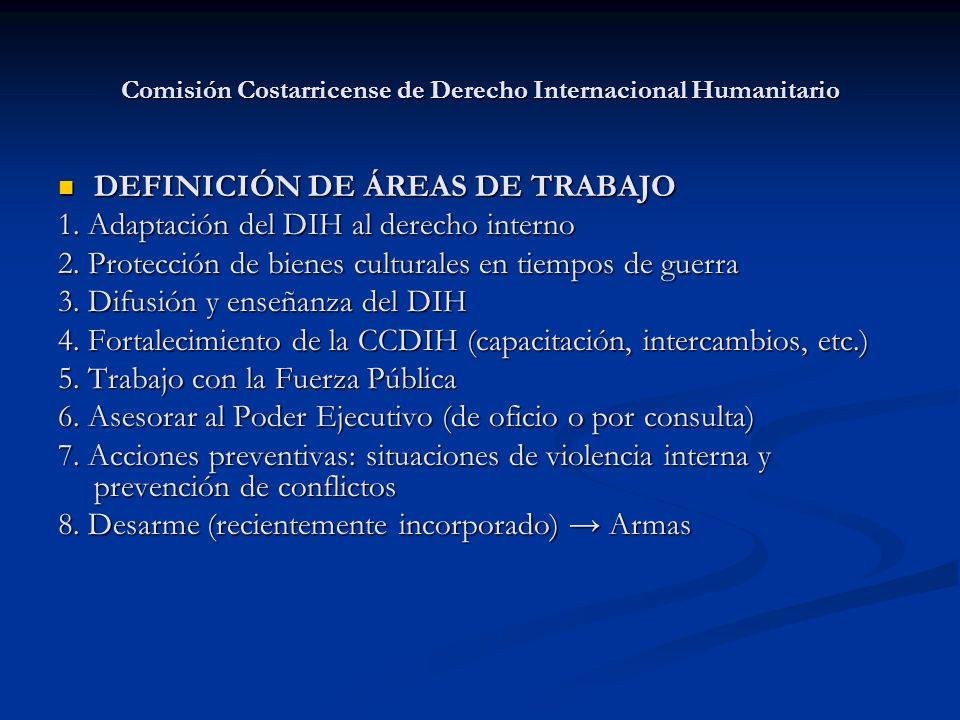 Comisión Costarricense de Derecho Internacional Humanitario DEFINICIÓN DE ÁREAS DE TRABAJO DEFINICIÓN DE ÁREAS DE TRABAJO 1. Adaptación del DIH al der