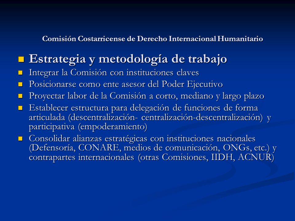 Comisión Costarricense de Derecho Internacional Humanitario Estrategia y metodología de trabajo Estrategia y metodología de trabajo Integrar la Comisi