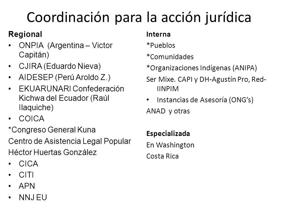 Coordinación para la acción jurídica Regional ONPIA (Argentina – Victor Capitán) CJIRA (Eduardo Nieva) AIDESEP (Perú Aroldo Z.) EKUARUNARI Confederaci