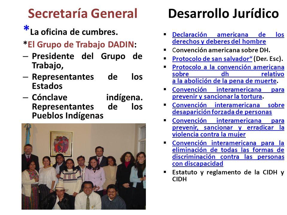Secretaría General * La oficina de cumbres. *El Grupo de Trabajo DADIN: – Presidente del Grupo de Trabajo, – Representantes de los Estados – Cónclave