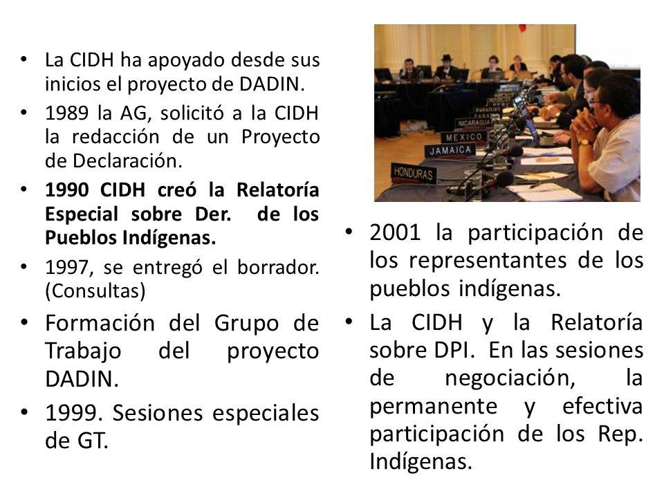 La CIDH ha apoyado desde sus inicios el proyecto de DADIN. 1989 la AG, solicitó a la CIDH la redacción de un Proyecto de Declaración. 1990 CIDH creó l