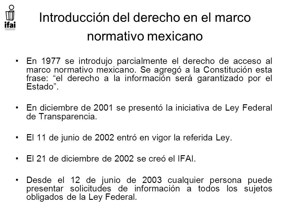 Introducción del derecho en el marco normativo mexicano En 1977 se introdujo parcialmente el derecho de acceso al marco normativo mexicano.