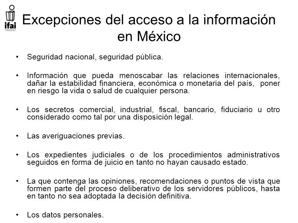 Excepciones del acceso a la información en México Seguridad nacional, seguridad pública.