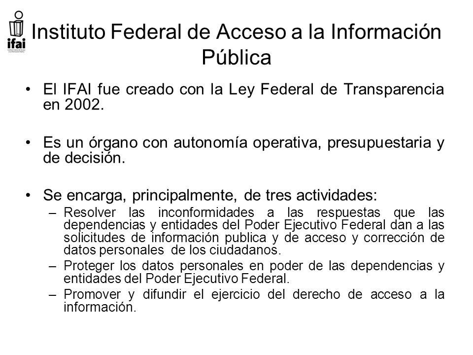 Instituto Federal de Acceso a la Información Pública El IFAI fue creado con la Ley Federal de Transparencia en 2002.