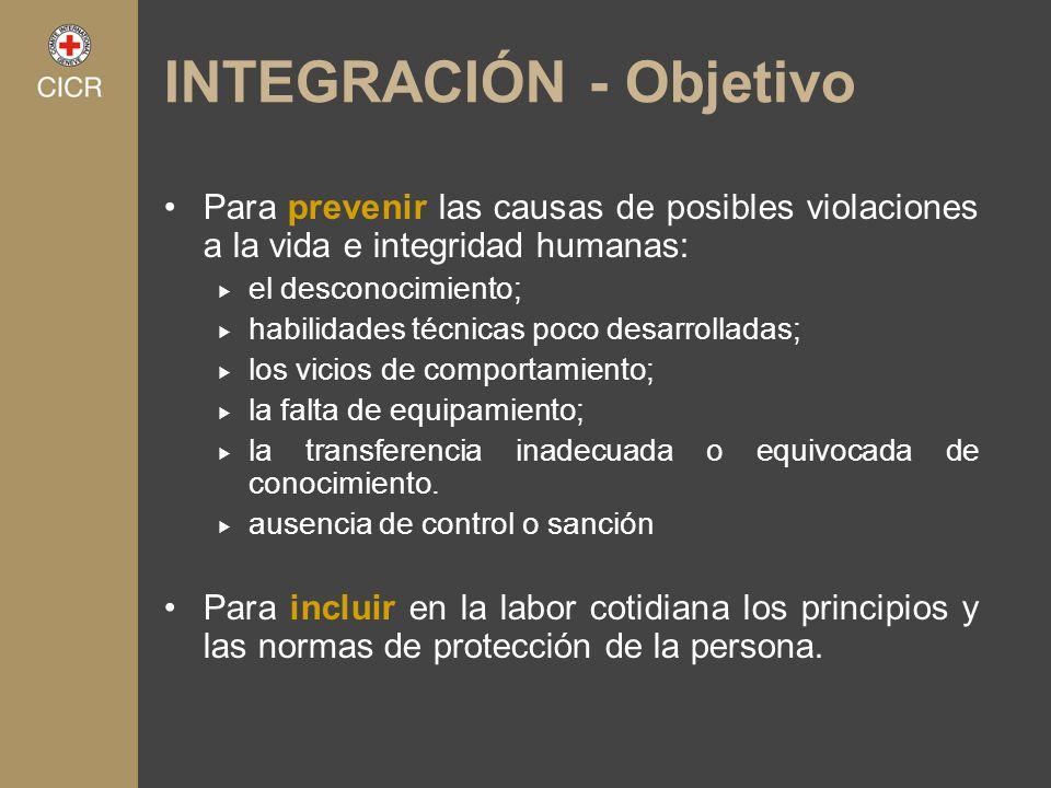 INTEGRACIÓN - Objetivo Para prevenir las causas de posibles violaciones a la vida e integridad humanas: el desconocimiento; habilidades técnicas poco